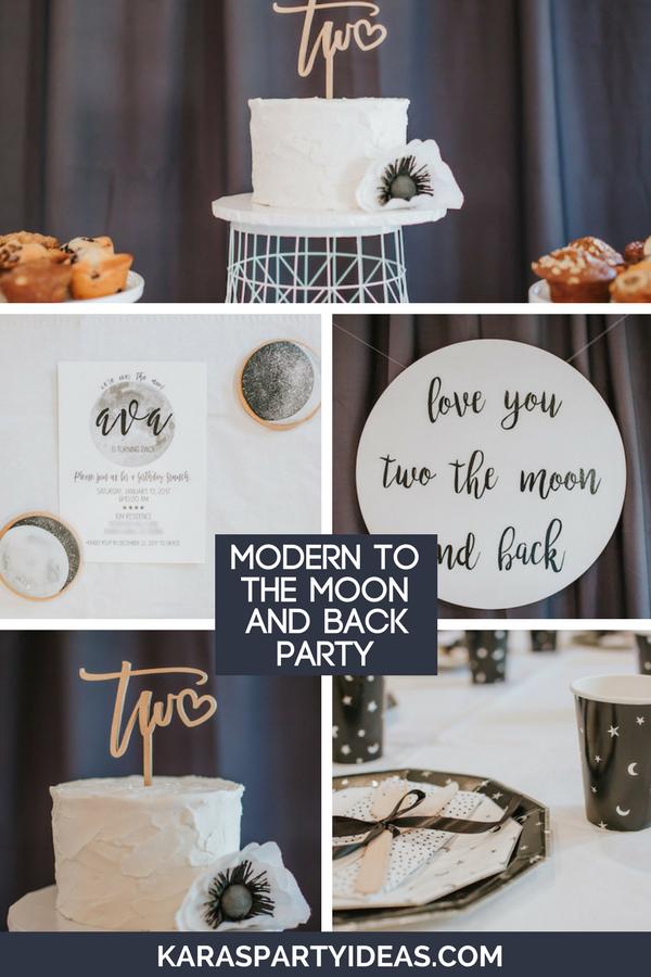Kara's Party Ideas Modern Moon & Back Birthday Party ...