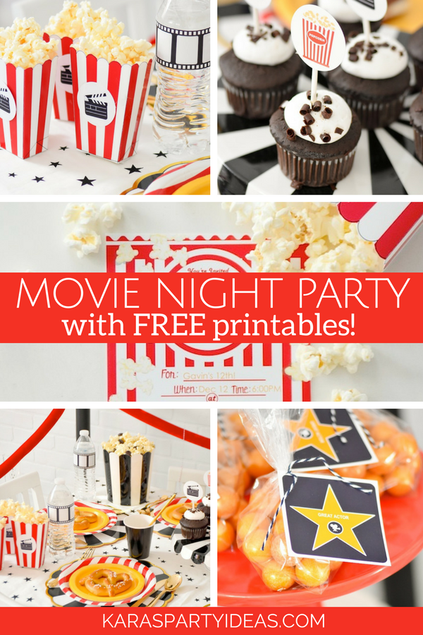 Movie Night Party with FREE Printables via Kara's Party Ideas - KarasPartyIdeas.com