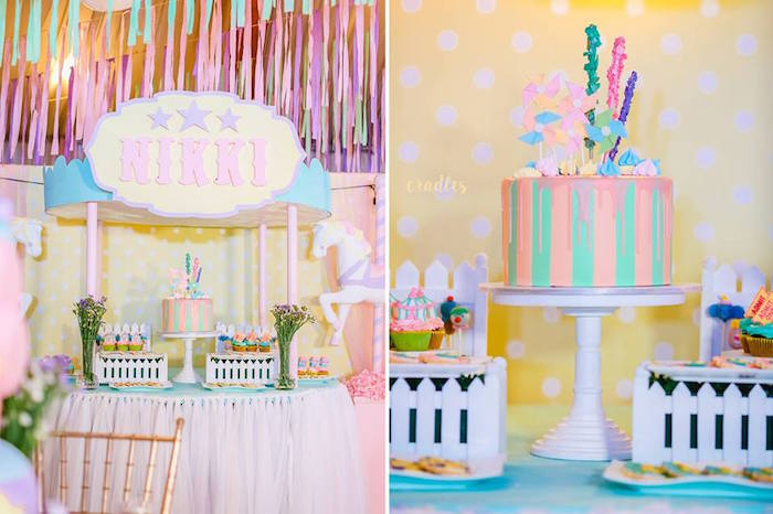 Cake table from a Pastel Carnival Birthday Party on Kara's Party Ideas | KarasPartyIdeas.com (10)