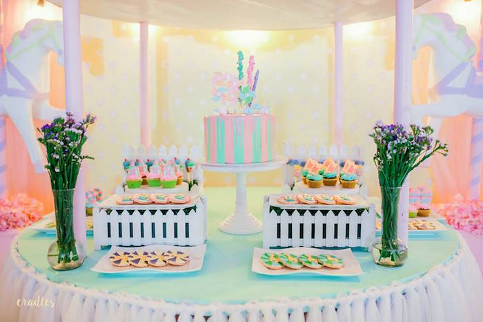 Dessert table from a Pastel Carnival Birthday Party on Kara's Party Ideas | KarasPartyIdeas.com (9)