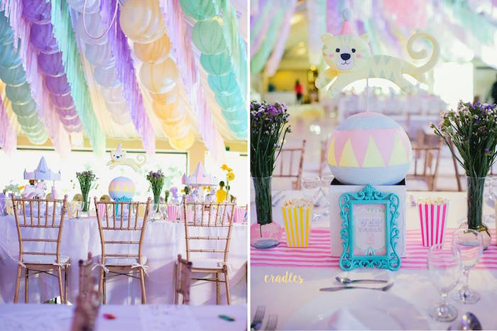 Carnival guest table from a Pastel Carnival Birthday Party on Kara's Party Ideas | KarasPartyIdeas.com (7)
