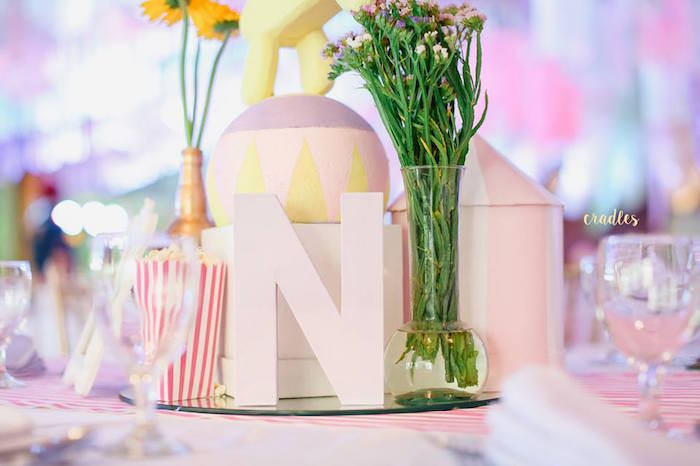Table centerpiece from a Pastel Carnival Birthday Party on Kara's Party Ideas | KarasPartyIdeas.com (6)