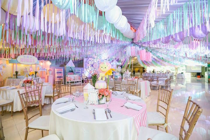 Girly carnival-inspired guest table from a Pastel Carnival Birthday Party on Kara's Party Ideas | KarasPartyIdeas.com (22)
