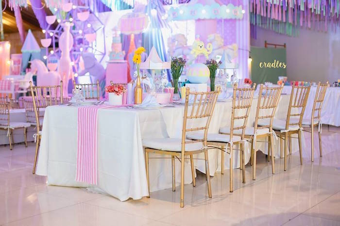 Guest table from a Pastel Carnival Birthday Party on Kara's Party Ideas | KarasPartyIdeas.com (21)