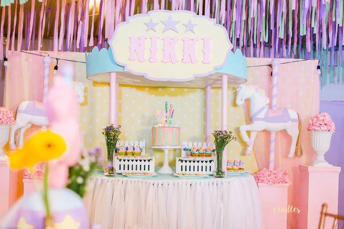 Carousel Cake Table from a Pastel Carnival Birthday Party on Kara's Party Ideas | KarasPartyIdeas.com (19)