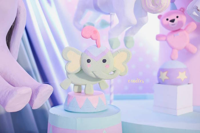 Elephant standee from a Pastel Carnival Birthday Party on Kara's Party Ideas | KarasPartyIdeas.com (17)