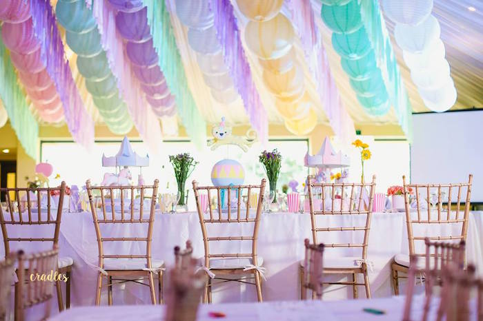 Guest table from a Pastel Carnival Birthday Party on Kara's Party Ideas | KarasPartyIdeas.com (16)