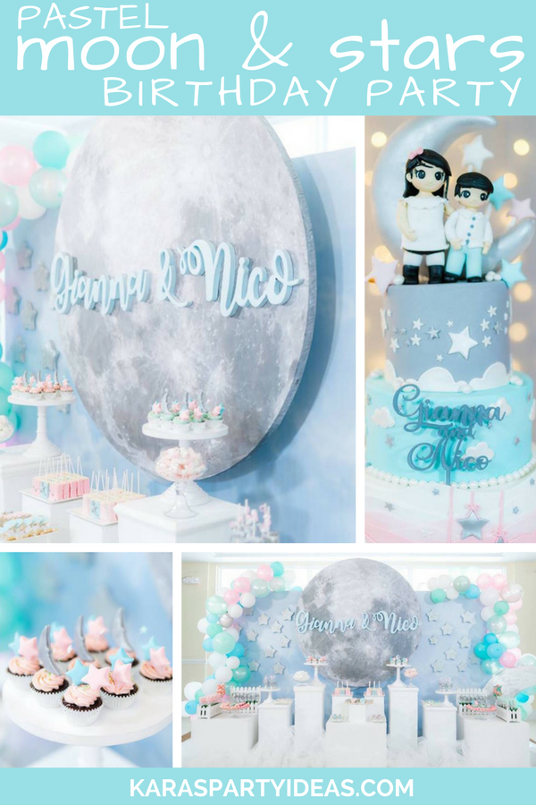 Kara S Party Ideas Pastel Moon Amp Stars Birthday Party