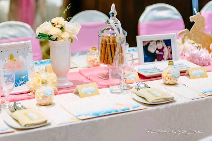 Guest table from a Pink & Gold Unicorn 100 Days Party on Kara's Party Ideas | KarasPartyIdeas.com (13)
