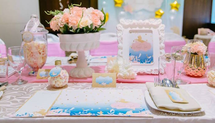 Table setting from a Pink & Gold Unicorn 100 Days Party on Kara's Party Ideas | KarasPartyIdeas.com (11)