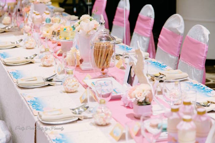 Guest table detail from a Pink & Gold Unicorn 100 Days Party on Kara's Party Ideas | KarasPartyIdeas.com (9)