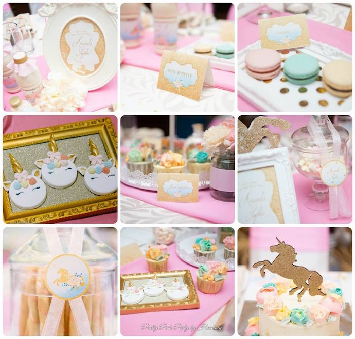 Unicorn party details from a Pink & Gold Unicorn 100 Days Party on Kara's Party Ideas | KarasPartyIdeas.com (8)