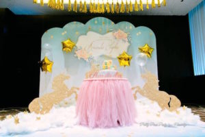 Cake table spread from a Pink & Gold Unicorn 100 Days Party on Kara's Party Ideas | KarasPartyIdeas.com (7)