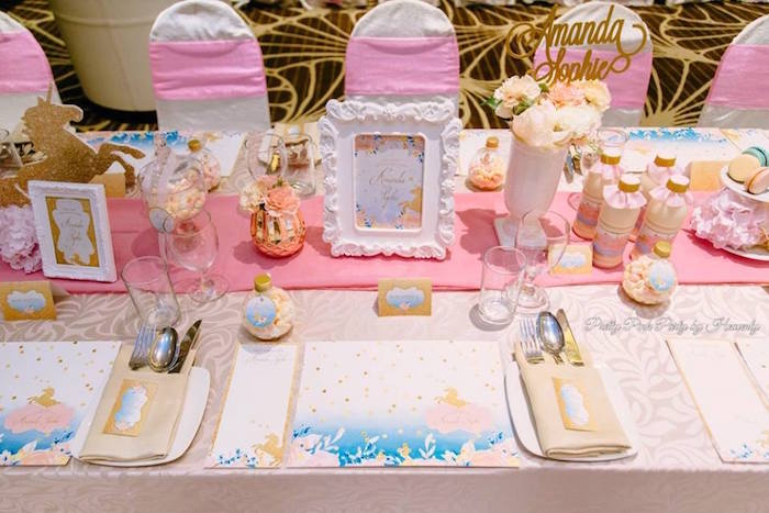 Table setting from a Pink & Gold Unicorn 100 Days Party on Kara's Party Ideas | KarasPartyIdeas.com (22)