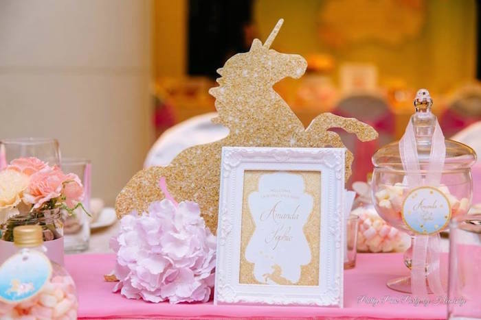 Glitter unicorn centerpiece + signage from a Pink & Gold Unicorn 100 Days Party on Kara's Party Ideas | KarasPartyIdeas.com (21)