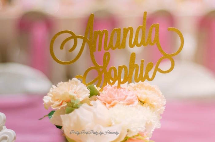 Floral centerpiece with custom name topper from a Pink & Gold Unicorn 100 Days Party on Kara's Party Ideas | KarasPartyIdeas.com (20)