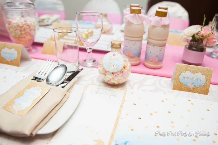 Table setting detail from a Pink & Gold Unicorn 100 Days Party on Kara's Party Ideas | KarasPartyIdeas.com (18)