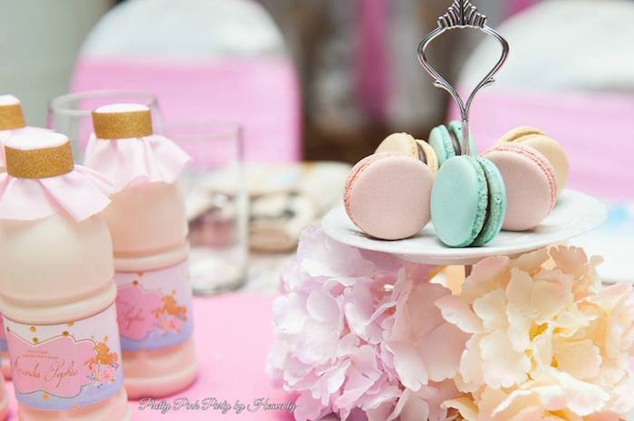 Macarons and drink bottles from a Pink & Gold Unicorn 100 Days Party on Kara's Party Ideas | KarasPartyIdeas.com (17)