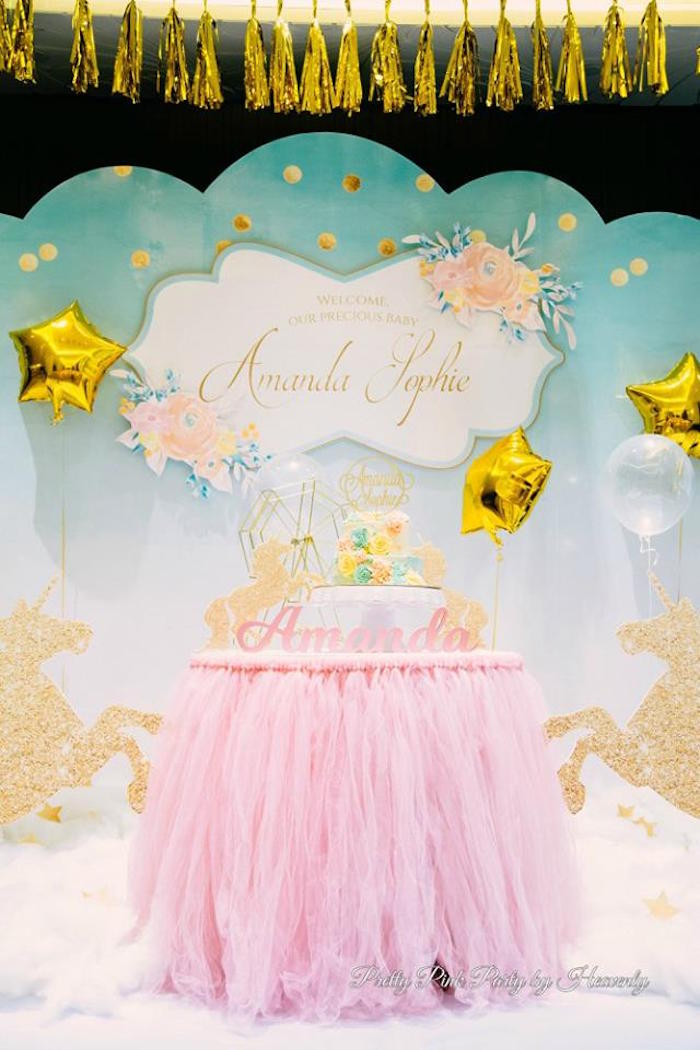 Unicorn cake table from a Pink & Gold Unicorn 100 Days Party on Kara's Party Ideas | KarasPartyIdeas.com (14)