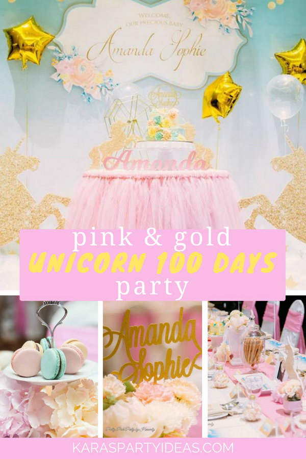Pink and Gold Unicorn 100 Days Party via Kara's Party Ideas - KarasPartyIdeas.com
