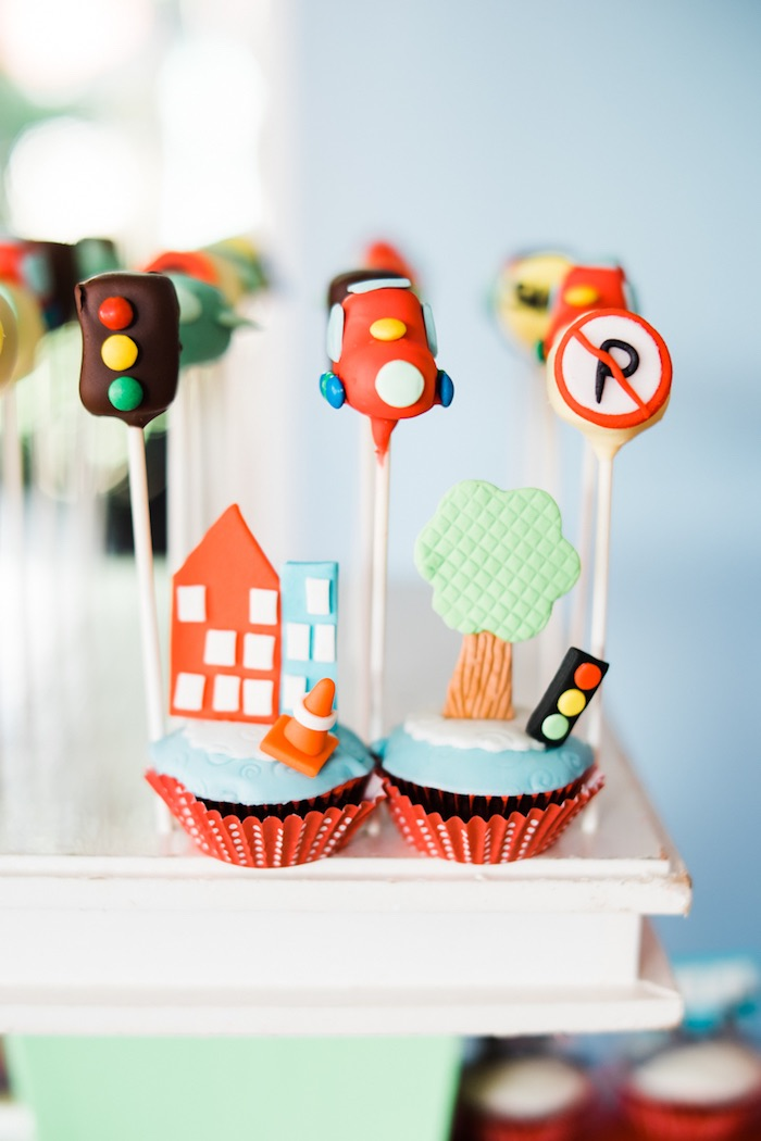 Transportation cupcakes & cake pops from a Planes, Trains, Automobiles Transportation Party on Kara's Party Ideas | KarasPartyIdeas.com (19)