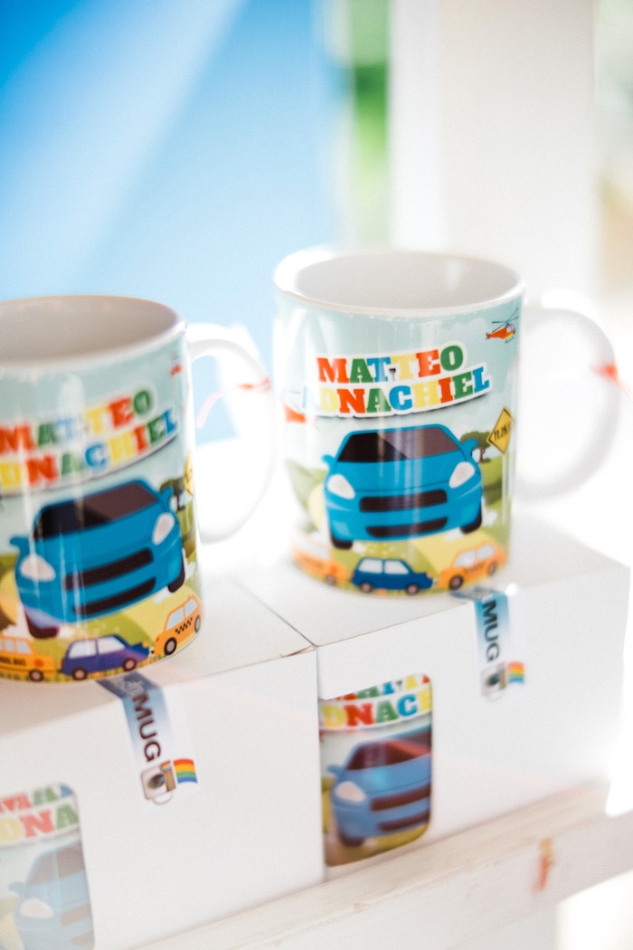 Custom mugs from a Planes, Trains, Automobiles Transportation Party on Kara's Party Ideas | KarasPartyIdeas.com (14)