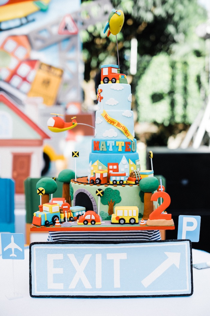 Cake from a Planes, Trains, Automobiles Transportation Party on Kara's Party Ideas | KarasPartyIdeas.com (8)