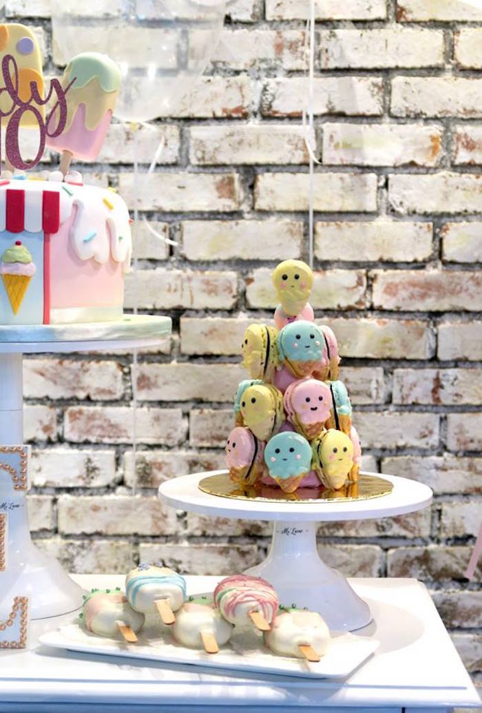 Popsicle Macaron Tower from a Popsicle Birthday Party on Kara's Party Ideas | KarasPartyIdeas.com (4)