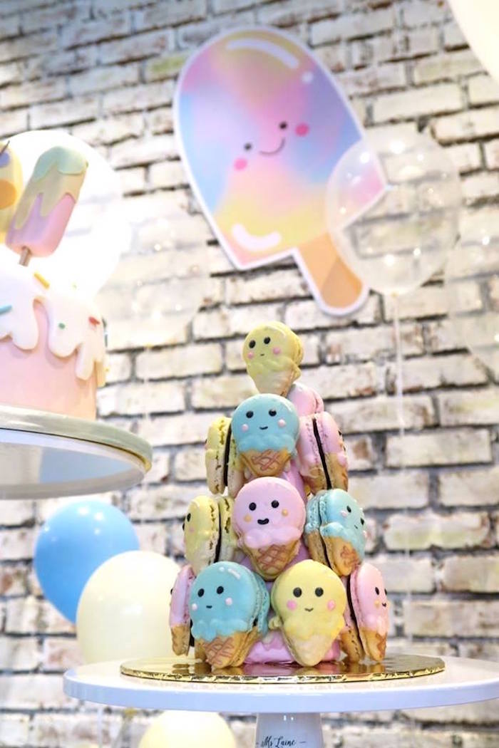 Ice Cream Cone Macaron Tower from a Popsicle Birthday Party on Kara's Party Ideas | KarasPartyIdeas.com (12)