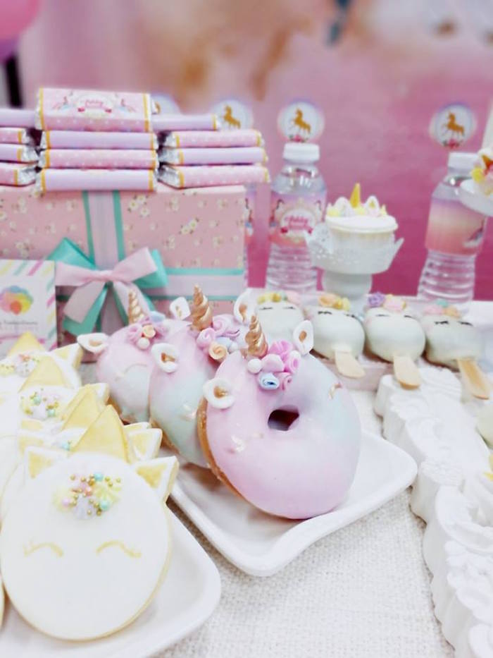 Unicorn doughnuts and cookies from a Pretty Pink Unicorn Birthday Party on Kara's Party Ideas | KarasPartyIdeas.com (4)