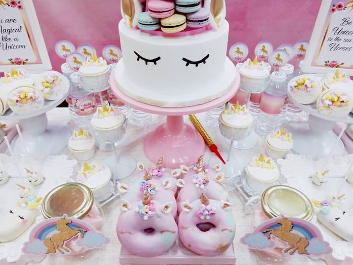Unicorn cake from a Pretty Pink Unicorn Birthday Party on Kara's Party Ideas | KarasPartyIdeas.com (3)
