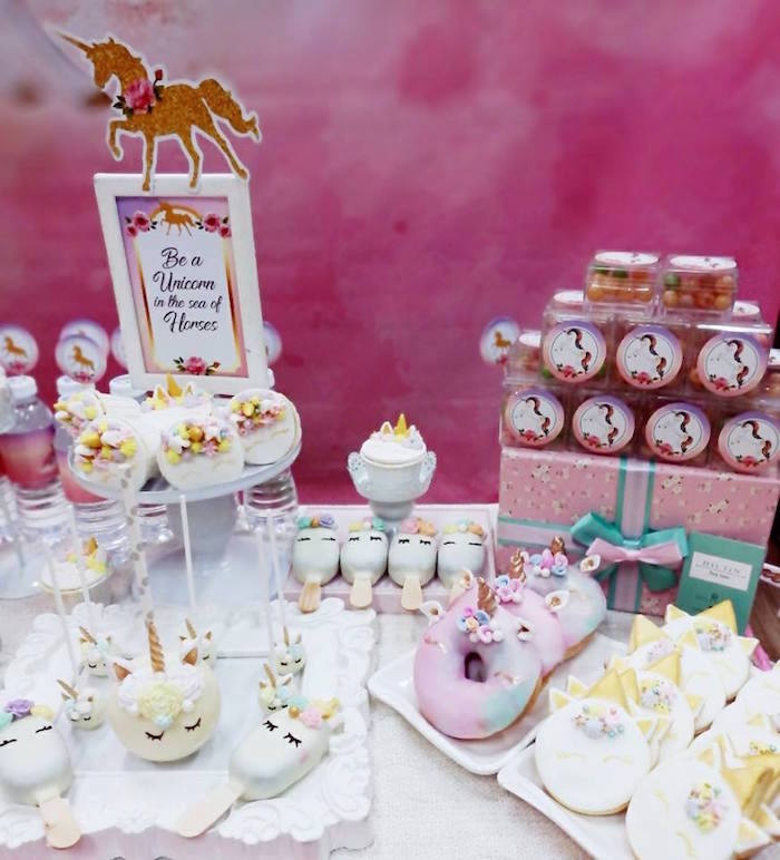 Dessert table detail from a Pretty Pink Unicorn Birthday Party on Kara's Party Ideas | KarasPartyIdeas.com (2)