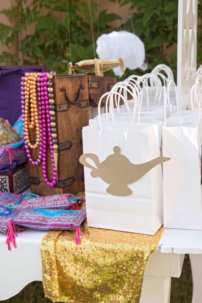 Genie lamp favor bags from a Princess Jasmine Inspired Arabian Nights Party on Kara's Party Ideas | KarasPartyIdeas.com (12)