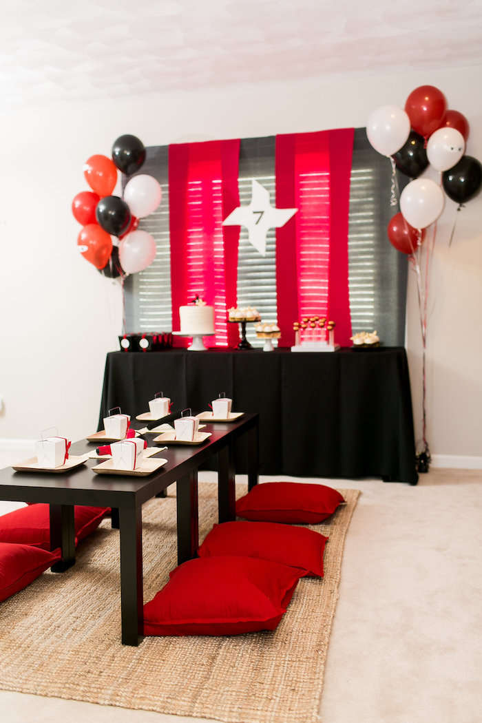 Kara S Party Ideas Red White Amp Black Ninja Birthday Party