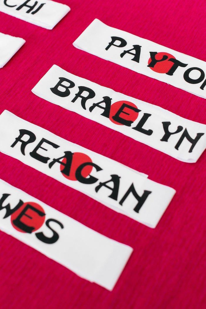 Personalized Ninja Headbands from a Red, White & Black Ninja Birthday Party on Kara's Party Ideas | KarasPartyIdeas.com (17)