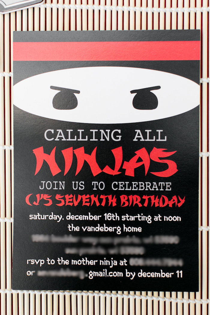 Ninja Party Invitation from a Red, White & Black Ninja Birthday Party on Kara's Party Ideas | KarasPartyIdeas.com (15)