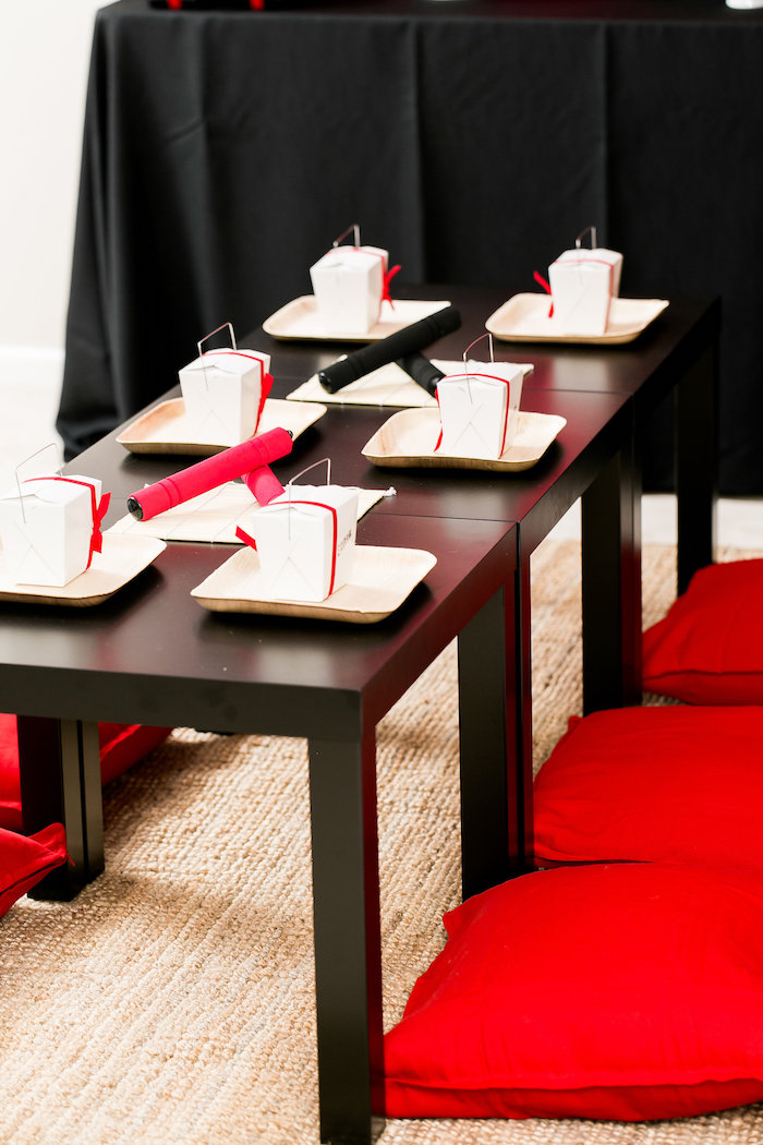 Ninja-inspired guest table from a Red, White & Black Ninja Birthday Party on Kara's Party Ideas | KarasPartyIdeas.com (6)