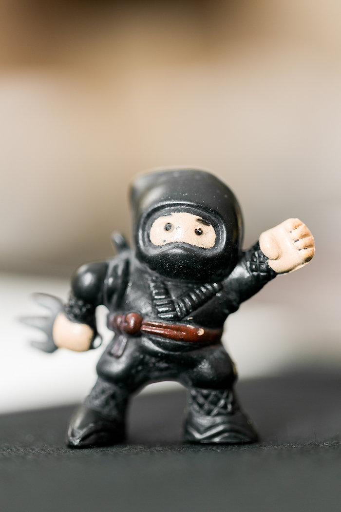Ninja figurine from a Red, White & Black Ninja Birthday Party on Kara's Party Ideas | KarasPartyIdeas.com (26)