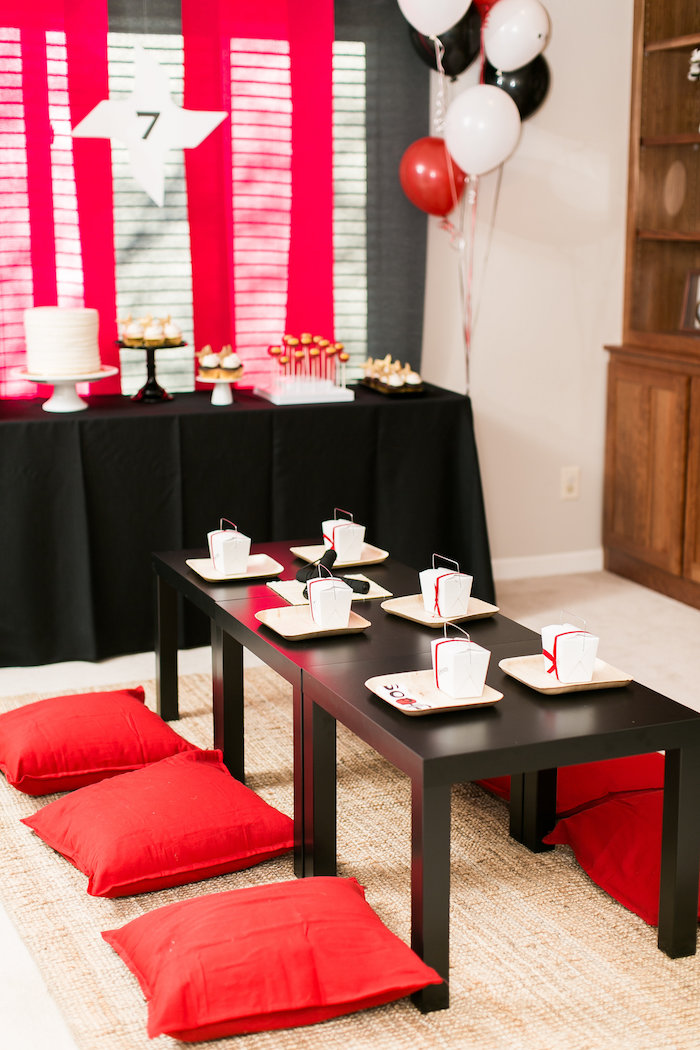 Ninja Guest Table from a Red, White & Black Ninja Birthday Party on Kara's Party Ideas | KarasPartyIdeas.com (25)