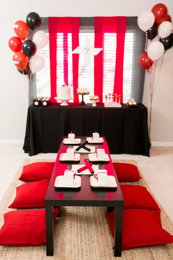 Karas Party Ideas Red White Black Ninja Birthday Party Karas