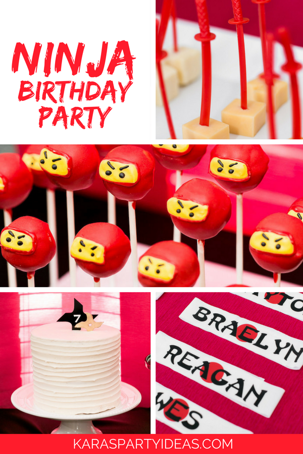 Kara's Party Ideas Red, White & Black Ninja Birthday Party