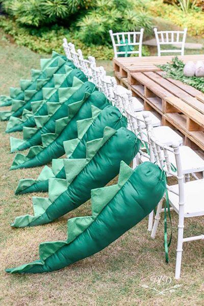 T-Rex - tailed guest chairs from a Roaring Dinosaur Birthday Party on Kara's Party Ideas | KarasPartyIdeas.com (12)