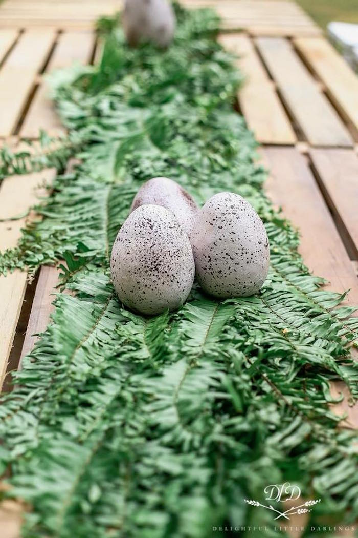 Jungle leaf runner + dino eggs from a Roaring Dinosaur Birthday Party on Kara's Party Ideas | KarasPartyIdeas.com (9)