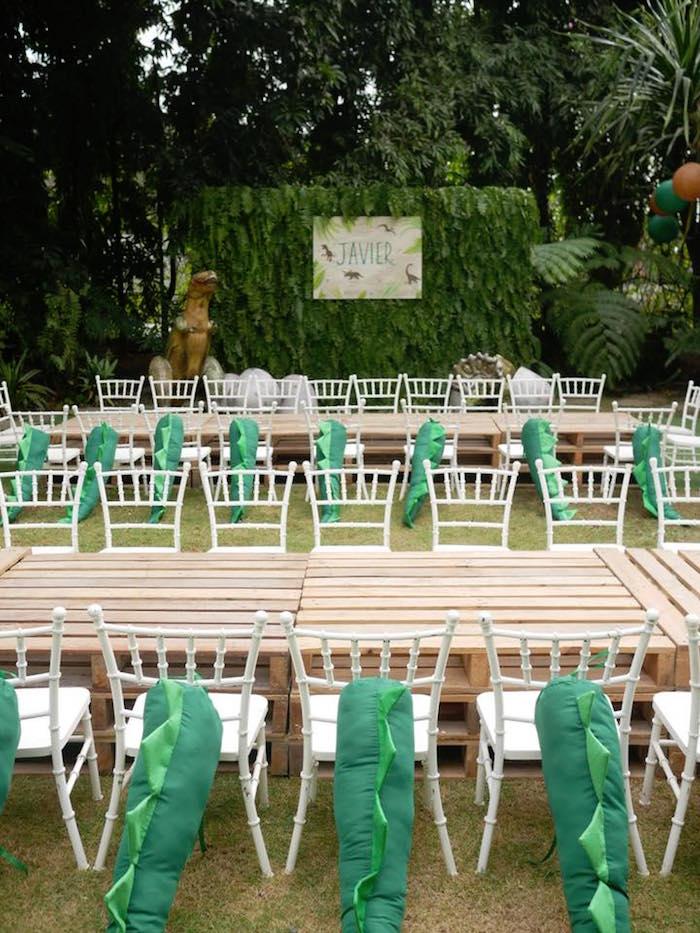 Guest tables from a Roaring Dinosaur Birthday Party on Kara's Party Ideas | KarasPartyIdeas.com (6)