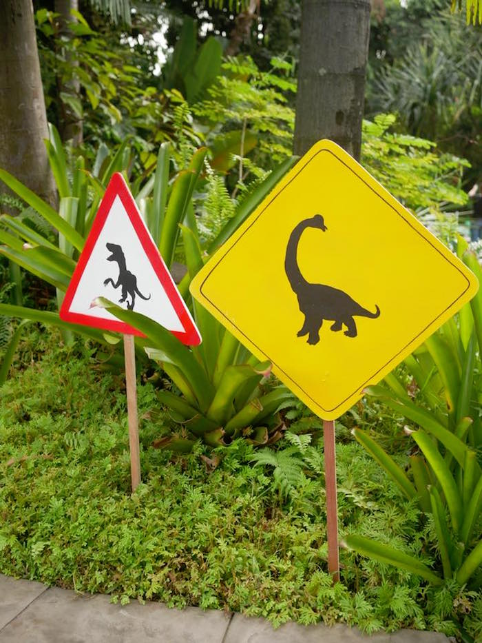Caution T-Rex + Yield to Dinosaurs signage from a Roaring Dinosaur Birthday Party on Kara's Party Ideas | KarasPartyIdeas.com (22)