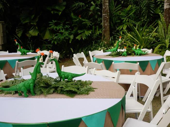 Guest tables from a Roaring Dinosaur Birthday Party on Kara's Party Ideas | KarasPartyIdeas.com (20)