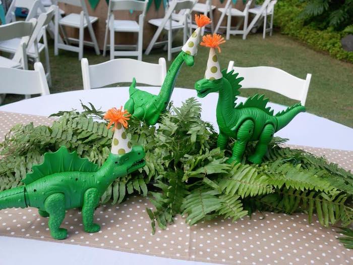 Lush green dinosaur table centerpiece from a Roaring Dinosaur Birthday Party on Kara's Party Ideas | KarasPartyIdeas.com (17)