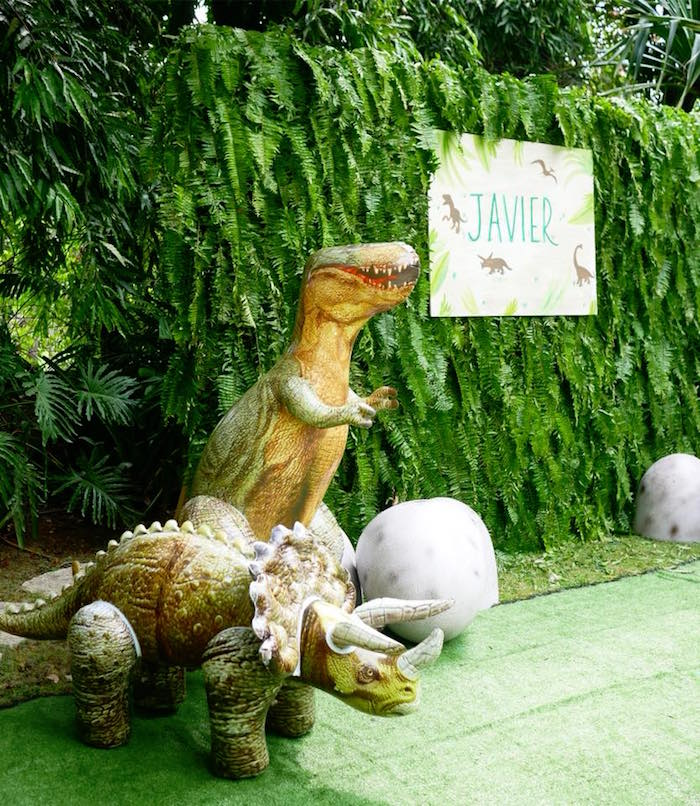 Dino photobooth from a Roaring Dinosaur Birthday Party on Kara's Party Ideas | KarasPartyIdeas.com (14)
