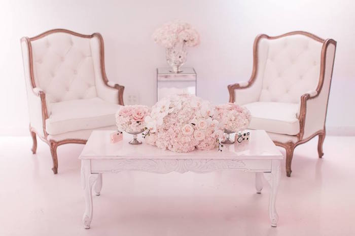 Lounge area from a Romantic White Wedding on Kara's Party Ideas | KarasPartyIdeas.com (19)