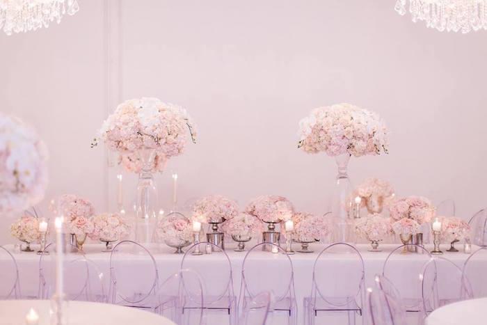 Head table from a Romantic White Wedding on Kara's Party Ideas   KarasPartyIdeas.com (15)